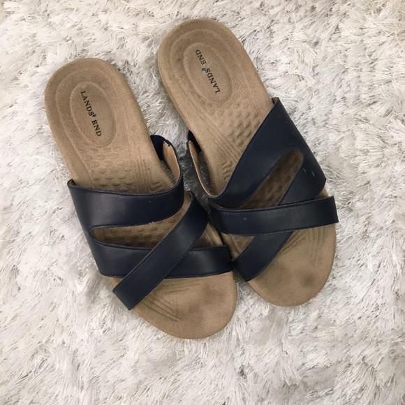 9ff72b21a574e Lands  End Shoes - Lands End Blue Slide Sandals Flip Flops Leather 7